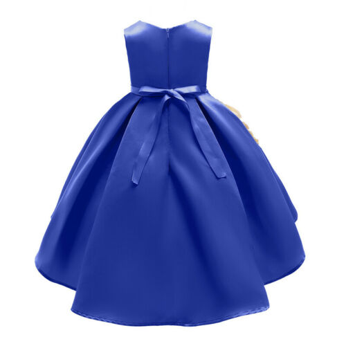 Kids Baby Flower Girls Dress Solid Party Gown Formal Wedding Bridesmaid Dresses
