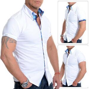 Men-039-s-Short-Sleeve-shirt-Italian-Design-Slim-Fit-Blue-Check-Collar-Cotton-White