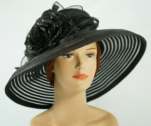 New Church Kentucky Derby Wedding Organza Wide Brim Dress Hat 286 Black