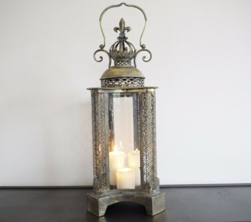 ANTIQUE STYLE METAL LANTERN CANDLE HOLDER HOME WEDDING TABLE 76cm