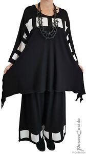 MYO-Lagenlook Long-Tunika-Shirt Materialmix schwarz-SPITZE 44,46,48,50,52,54