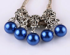 5pcs Tibetan silver pearl pendant spacer beads fit Charm European Bracelet #A518