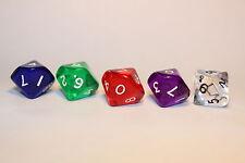 5 Würfel 10-seitig transparent Zahlenwürfel Spielewürfel Spielezubehör W10 D10