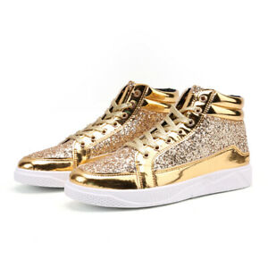 Men's Gold  Lace Up Athletic Sneakers Round Toe High Top Board Vogue Punk Shoes