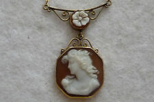 Italian  Vintage UNOAR 12ct Gold  Shell Cameo Necklace with Round Link Chain