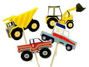 Cupcake-Topper-Muffinspiesse-Tortenfigur-Boy-fuer-Jungs-Autos-Fahrzeuge-LKW-Truck