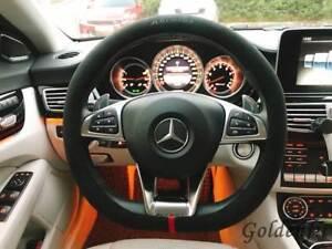 Alcantara-Suede-Steering-Wheel-Cover-D-Cut-Shape-Benz-Audi-Volkswagen-Deep-Grey