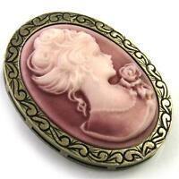 Antique Vtg St Cameo Brooch Pin Pendant Dark Peach Pink