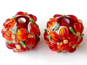 10pcs-handmade-Lampwork-glass-round-Beads-orange-flower-15mm