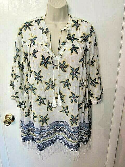 NWOT Roberta Roller Rabbit Tropical Flower  Serafina Tunic  Top FringeTasselXS