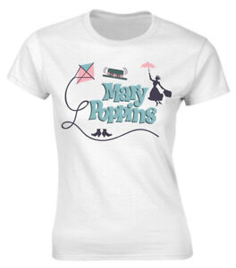 40aa33ab Disney Mary Poppins 'Logos' Womens Fitted T-Shirt - NEW & OFFICIAL ...
