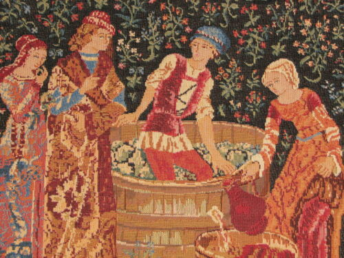 """14/"""" X 14/"""" LES VENDANGES THE GRAPE PRESSING ZIPPED TAPESTRY CUSHION COVER"""