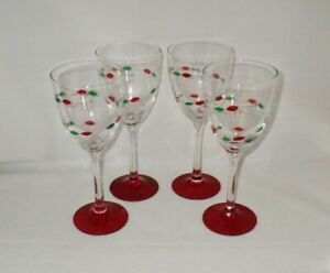 Gorham-CHRISTMAS-JEWELS-Water-Goblets-Glasses-with-Red-Foot-Set-of-4
