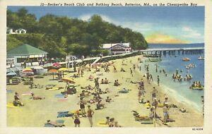 Betteron-Beach-Kent-Maryland-Chesapeake-Beckers-Beach-Club-1930s-Postcard