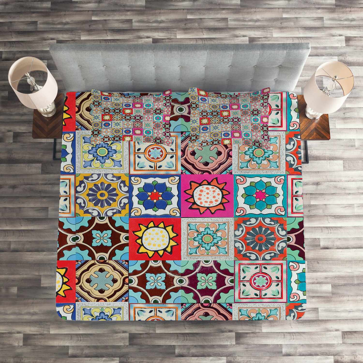 Farbeful Quilted Coverlet & Pillow Shams Set, Geometric Mosaic Tiles Print