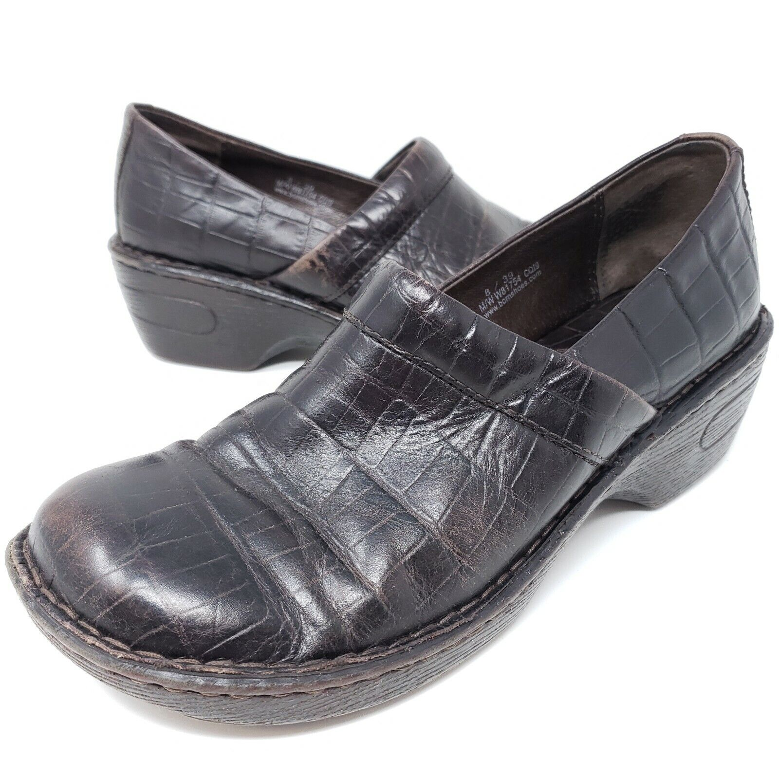 BOC Born Womens Clogs Brown Leather Reptile Slip On Comfort Shoes Sz 8 / 39