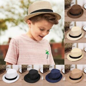 Kids Baby Boy s Summer Beach Sun Hat Jazz Panama Trilby Fedora Hat ... a73e56ccee44