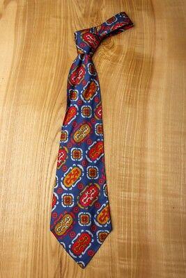 RüCksichtsvoll Vintage Orig 60er Schlips Krawatte Breit Blau Rot Disco Schlager Dauerhaft Im Einsatz