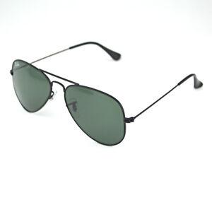 NEW-AUTHENTIC-RayBan-Sunglasses-55mm-Ray-Ban-AVIATOR-Black-Frame-Green-Classic