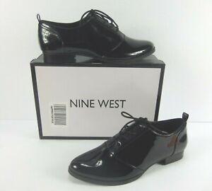 Nine-West-HYIDA-Women-s-Black-Patent-Leather-Oxford-Lace-Up-Shoes-Sz-10-M-NIB