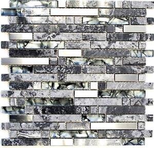 Glas-Natursteinmosaik-Stahl-mix-Mosaik-Fliese-grau-Wand-Art-87-MV778-b-1Matte