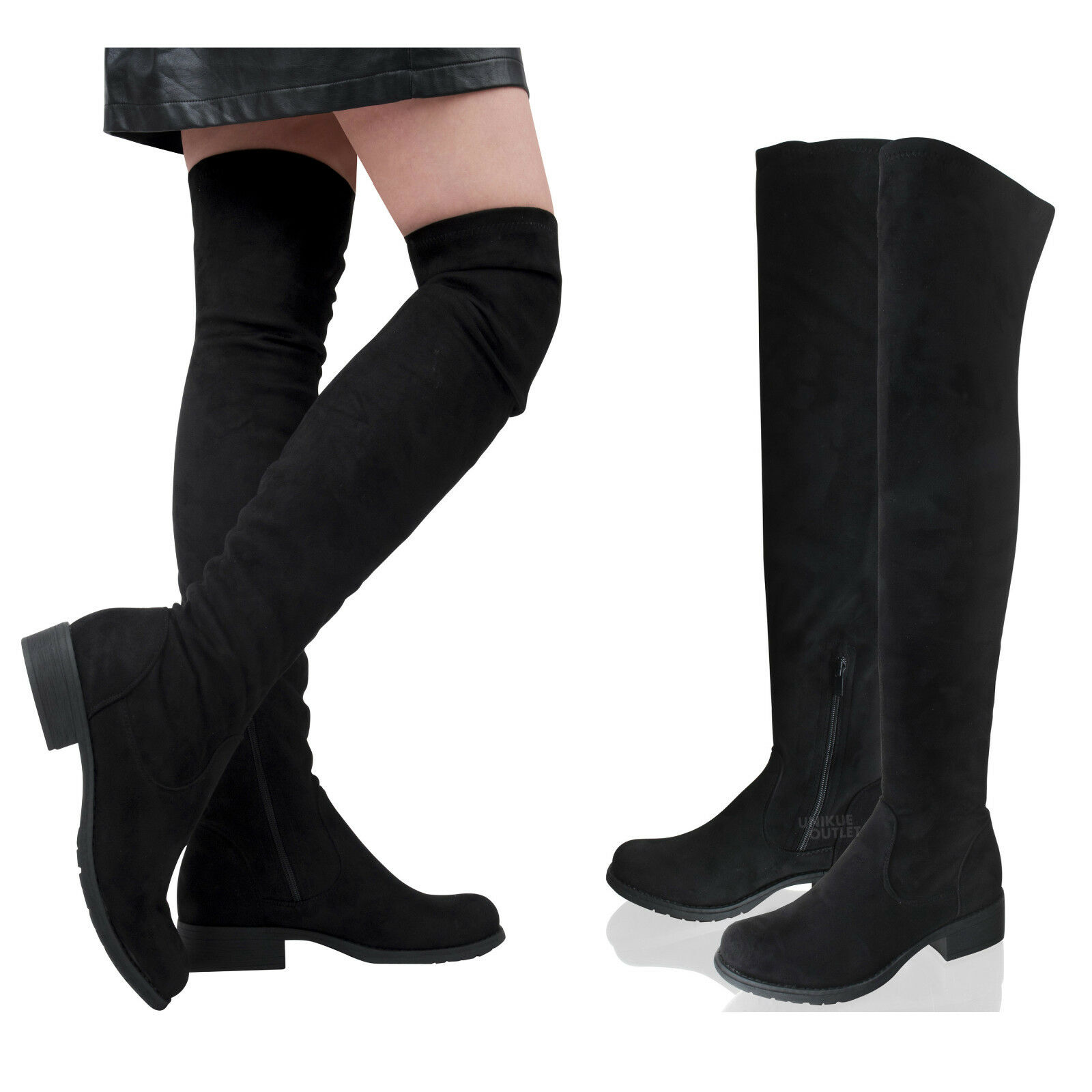 Womens Ladies Thigh High Over The Knee Low Block Heel Black Boots Shoes Size