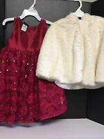 Holiday Edition Girl Red Valentine Dress Toddler Faux Fur Cape Ivory Size 2t