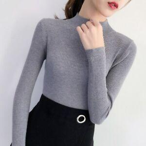 New-Women-Mock-Neck-Turtleneck-Long-Sleeve-Jumper-Knit-Shirt-Blouse-Tops-Sweater