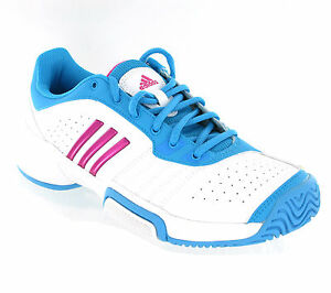 Adidas Barricade Team White Training Sports Womens Tennis Trainers Size 3-8