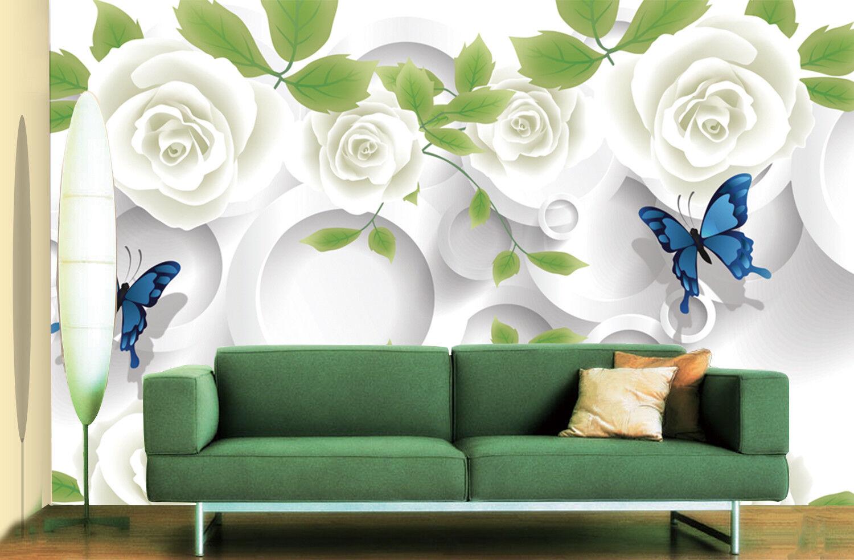 3D Blaumen Schmetterling 8993 Tapete Wandgemälde Tapeten Bild Familie DE Jenny | Modern Und Elegant  | Online Outlet Store  | Hohe Qualität und geringer Aufwand