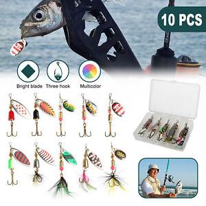 10x Fishing Lures Bass Tackle Crankbait Trout Salmon Spoon Hard Metal baits Box
