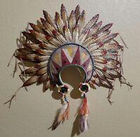 Tribal Indian Head Dress Resin N Metal Home Decor 21 X 17 Large