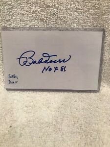 BEAUTIFUL Bobby Doerr HOF '81 Autographed 3x5 Index Card, Boston Red Sox, NICE!!