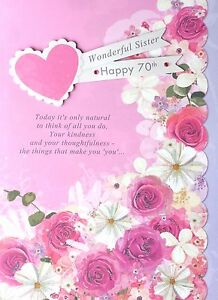 Wonderful sister happy 70th gorgeous happy 70 birthday card with image is loading wonderful sister happy 70th gorgeous happy 70 birthday bookmarktalkfo Image collections