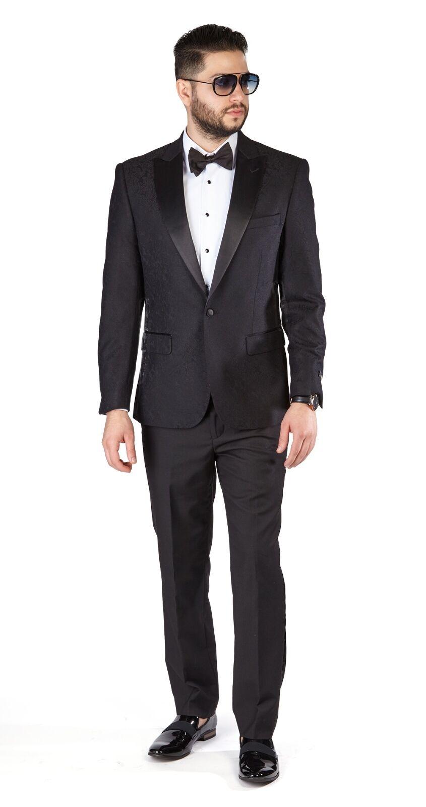 Slim Fit 1 Button Tuxedo Black Paisley Peak Lapel Jacket Black Pants 1778 AZAR