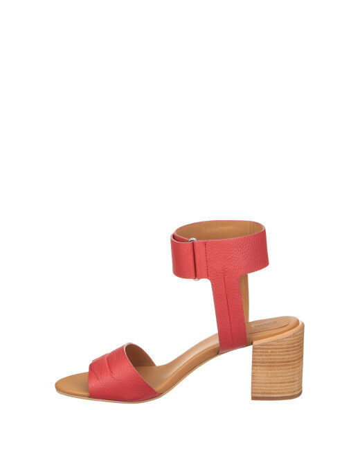 See By Chloé Red Anna Ankle Strap Mid 40 Heel Sandals, Red/Burgundy SIZE 40 Mid (sh) 1ab824