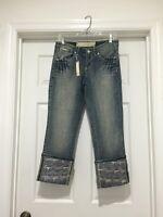 Enyce Juniors' Foil Cuffed Stonewash Capri Size 5
