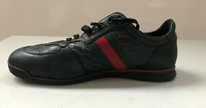 Gucci Men's Black Leather Trainers UK 8