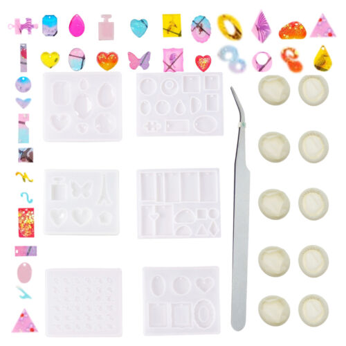 17pcs Assorted Silicone Resin Casting Molds Handmade DIY Jewelry Pendant Charm