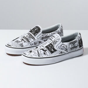ee57420c1 Image is loading VANS-ASHLEY-WILLIAMS-Slip-On-Newspaper-White-Sneakers-