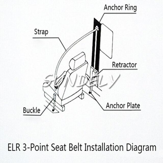 Universal Seat Belt 3 Point Lap Diagonal Retractable Seatbelt Uk