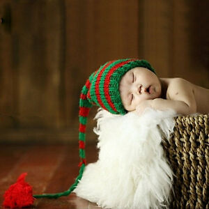 Newborn Baby Photo Prop Crochet Knit Unisex Stripe Long Tail Elf Hat ... ac6e0592d915