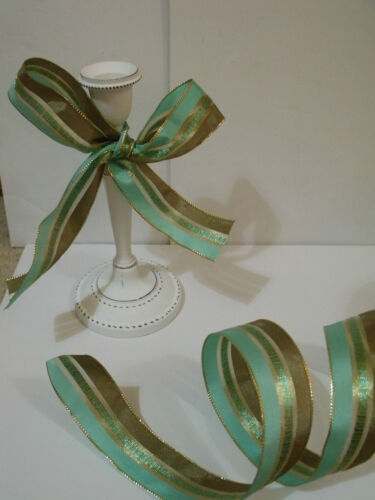 Green Mink Brown Gold Luxury Wire Edged Ribbon MINT CHOC CHIP Ice Cream