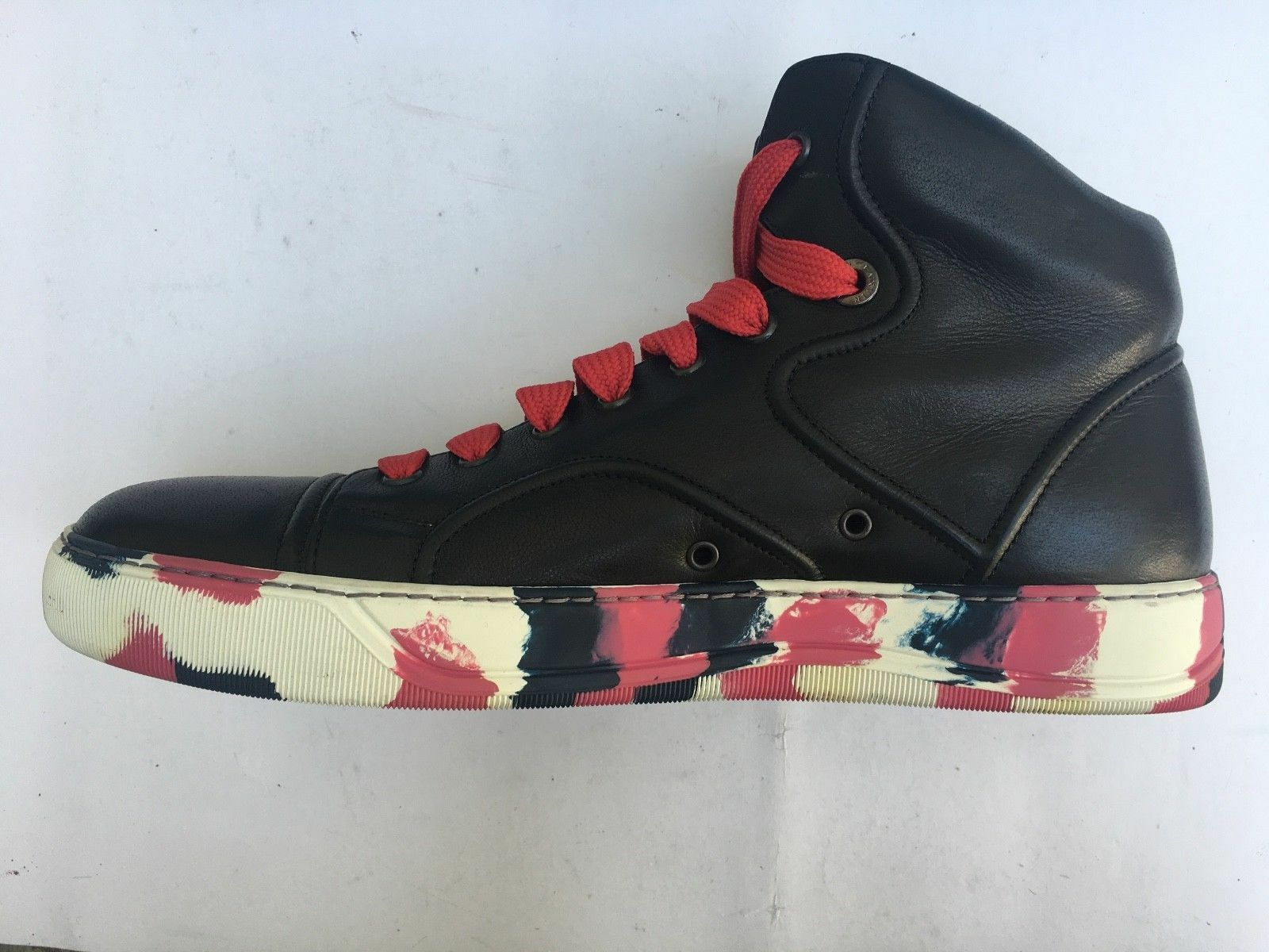 LANVIN High Top Sneakers Trainers Black Leather Camouflage Sole EU41 US8.5 UK7