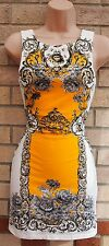 RIVER ISLAND WHITE YELLOW BAROQUE PAISLEY BODYCON TUBE PENCIL TEA DRESS 10 S