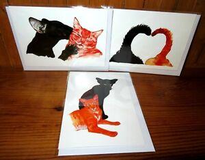 CATS BIRTHDAY GREETING CARD GIFT Black CAT Ginger cat KISS Art Blackkingsdream