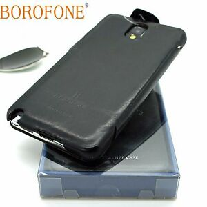BOROFONE-General-Genuine-Real-Leather-Book-Case-For-SAMSUNG-GALAXY-NOTE-3-BLACK