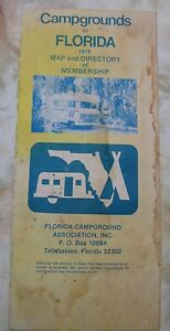 Vintage 1978 Campgrounds in Florida Map Florida Campground Assoc  | eBay