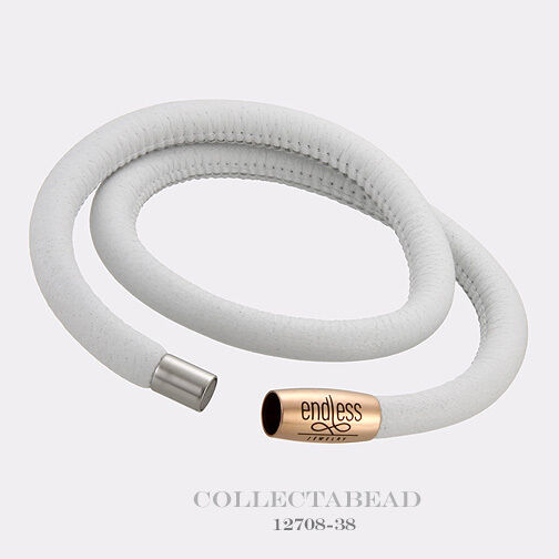 Authentic Endless pink gold Plated White Double Leather Bracelet 7.5  12708-38