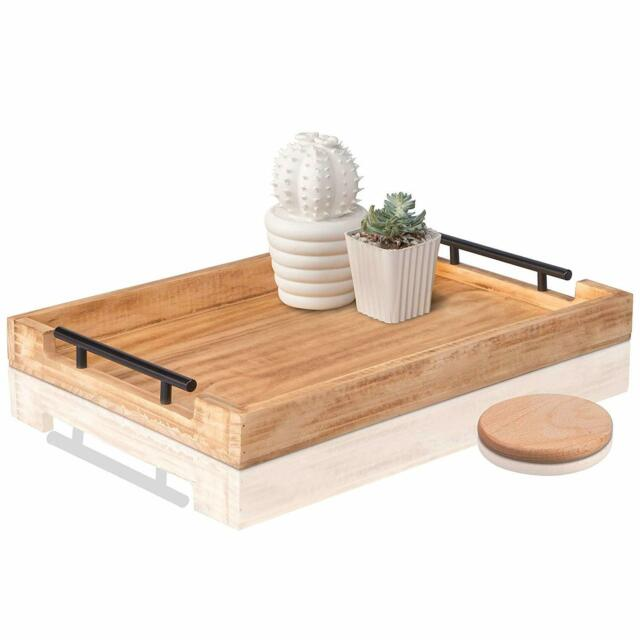 Wood Serving Tray With Metal Handles